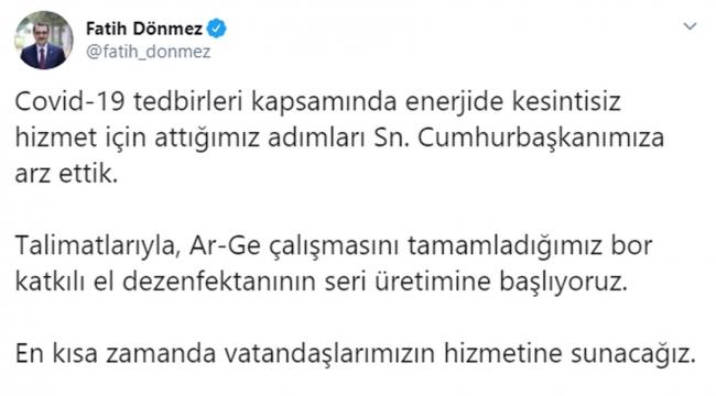 Bakan Dönmez'den dezenfektan müjdesi