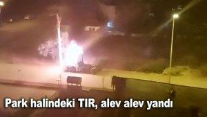 Park halindeki TIR, alev alev yandı