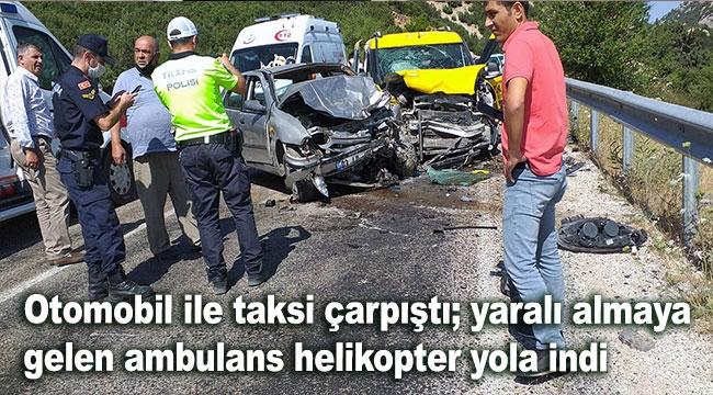Yaralı almaya gelen ambulans helikopter yola indi